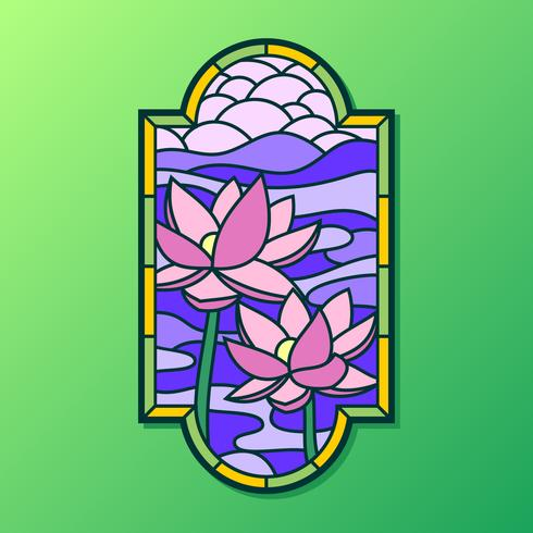 Lotus Stained Glass Window Vector