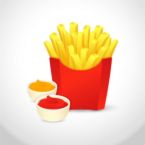 French Fries Realistic Vector