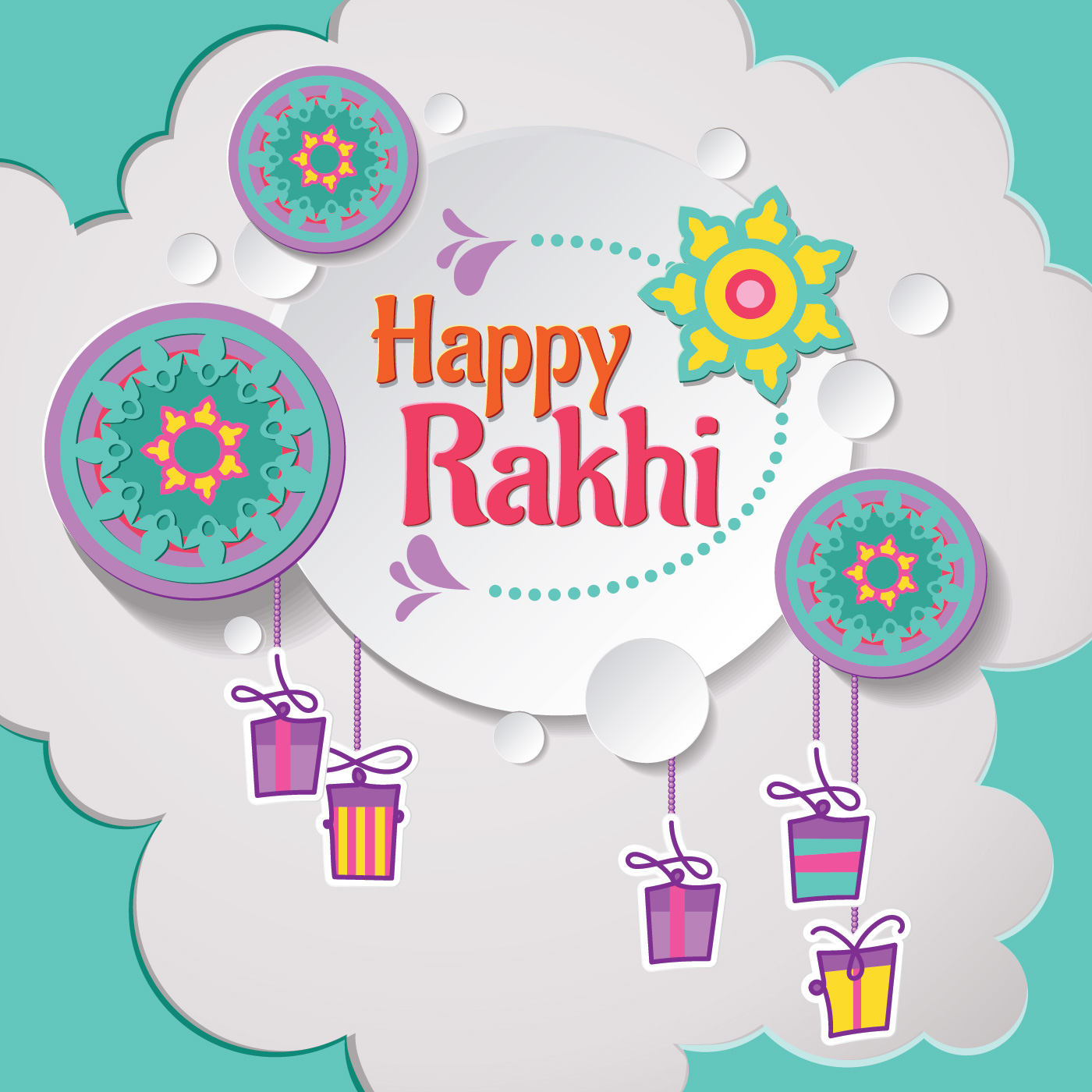 Happy Rakhi Card With Paper Cut Style