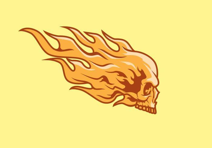 flaming skull vector logo mascot illustration