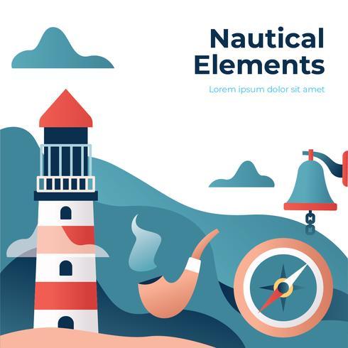 Ilustração de elementos náuticos