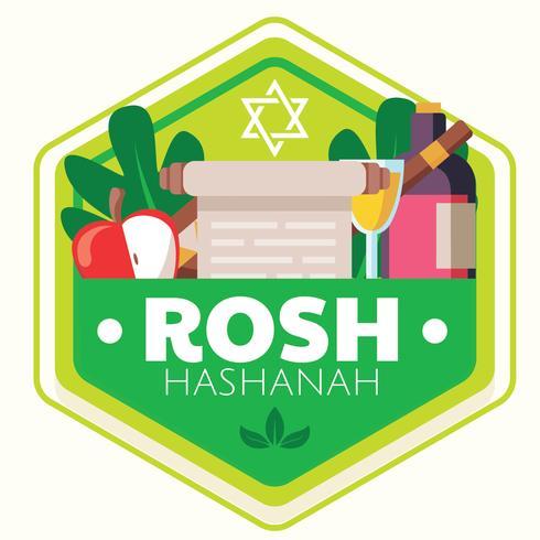 Diseño vectorial de Rosh Hashaná Badge