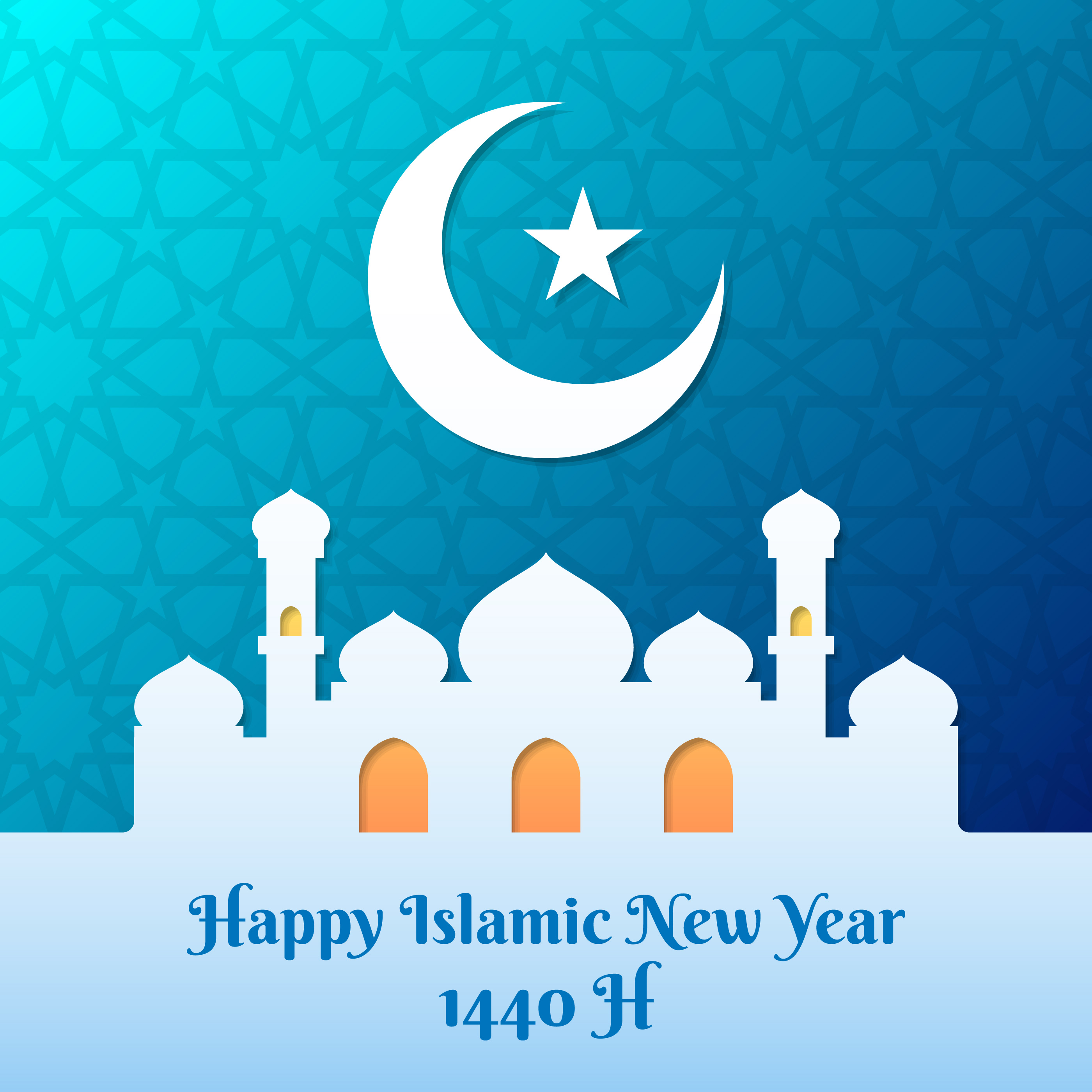 Happy New Hijri Year 1440h Illustration Download Free Vector Art