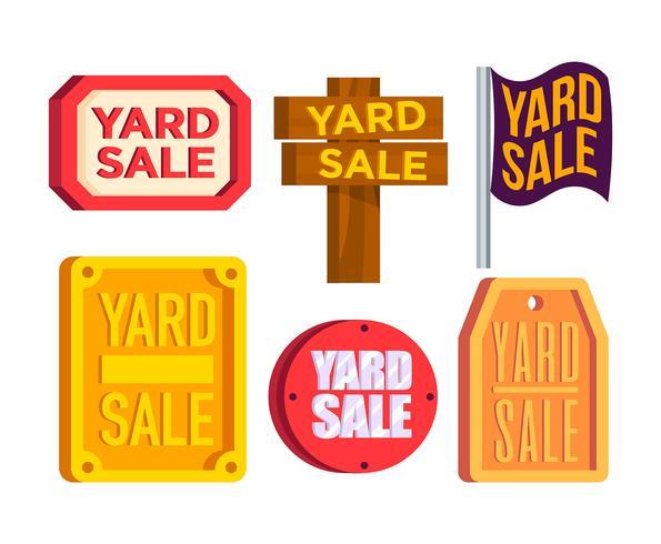 Yard Sale Sign Vector Set