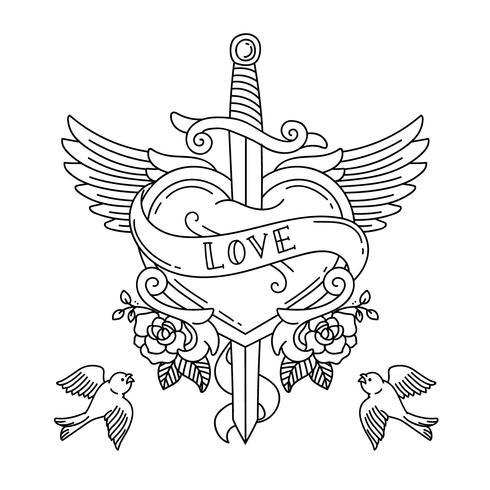 Hjärtatatuering med vingar och kniv