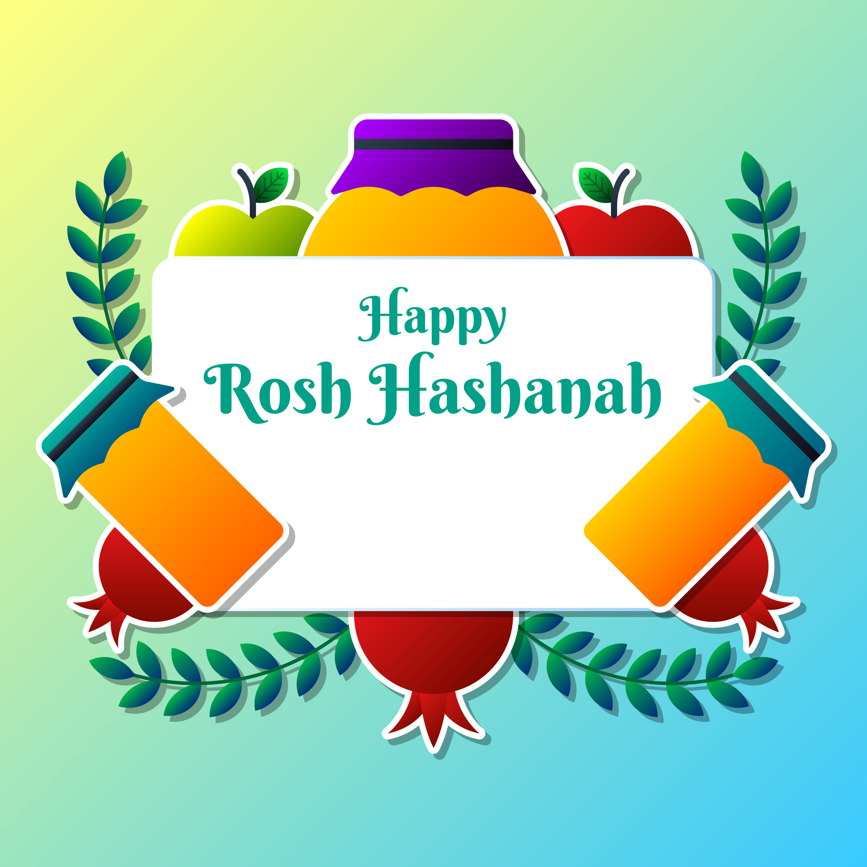 Greeting Card Design For Jewish New Year Rosh Hashanah Template