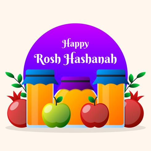Jødisk nyårsfödelsedagsillustration Holiday Banner Design