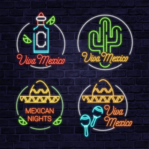 vektor viva mexico neon tecken