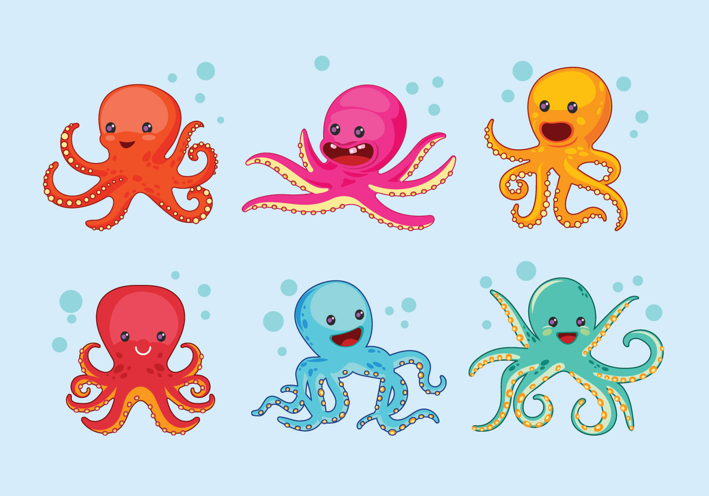Set of Cute Octopus with Expression - Download Free ...