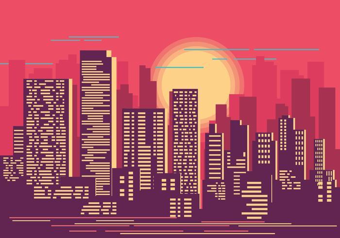 Stadsbild vid Sunset Illustration vektor