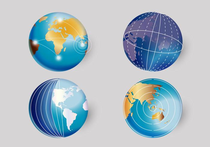 3d realistisk världsklocka vektor illustration