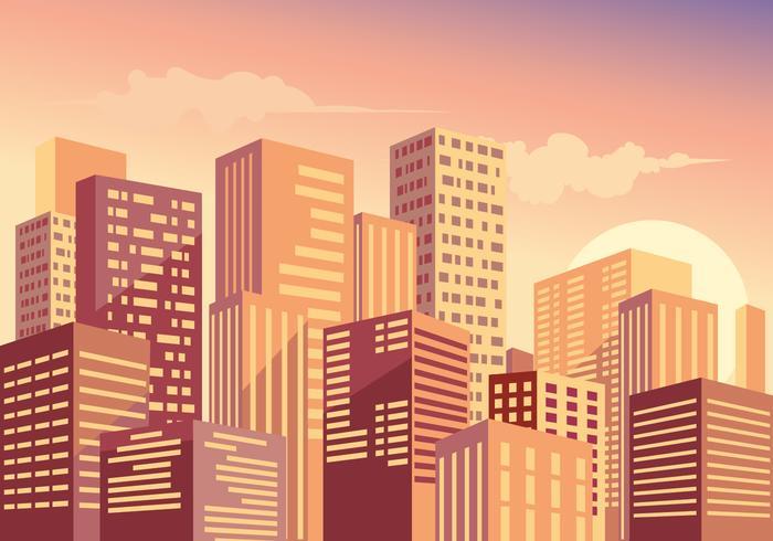 Bela paisagem urbana ao pôr do sol