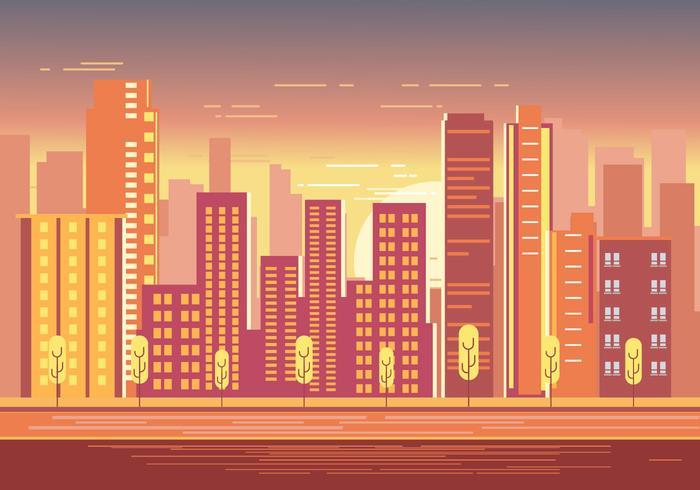 Vacker solnedgång över stadsbild med varmt solljus