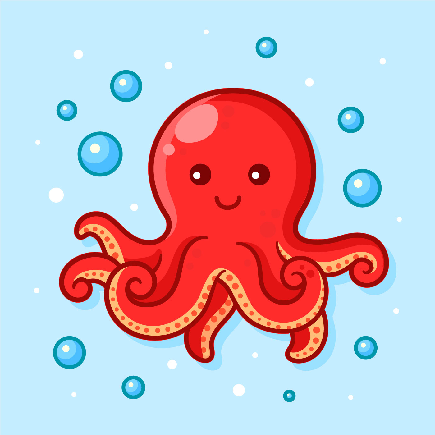 Cute Octopus Vector Illustration - Download Free Vectors ...