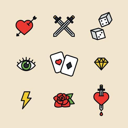 Iconos del tatuaje contorneado