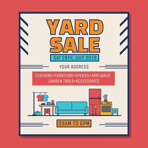 Yarda, venta, cartel, vector
