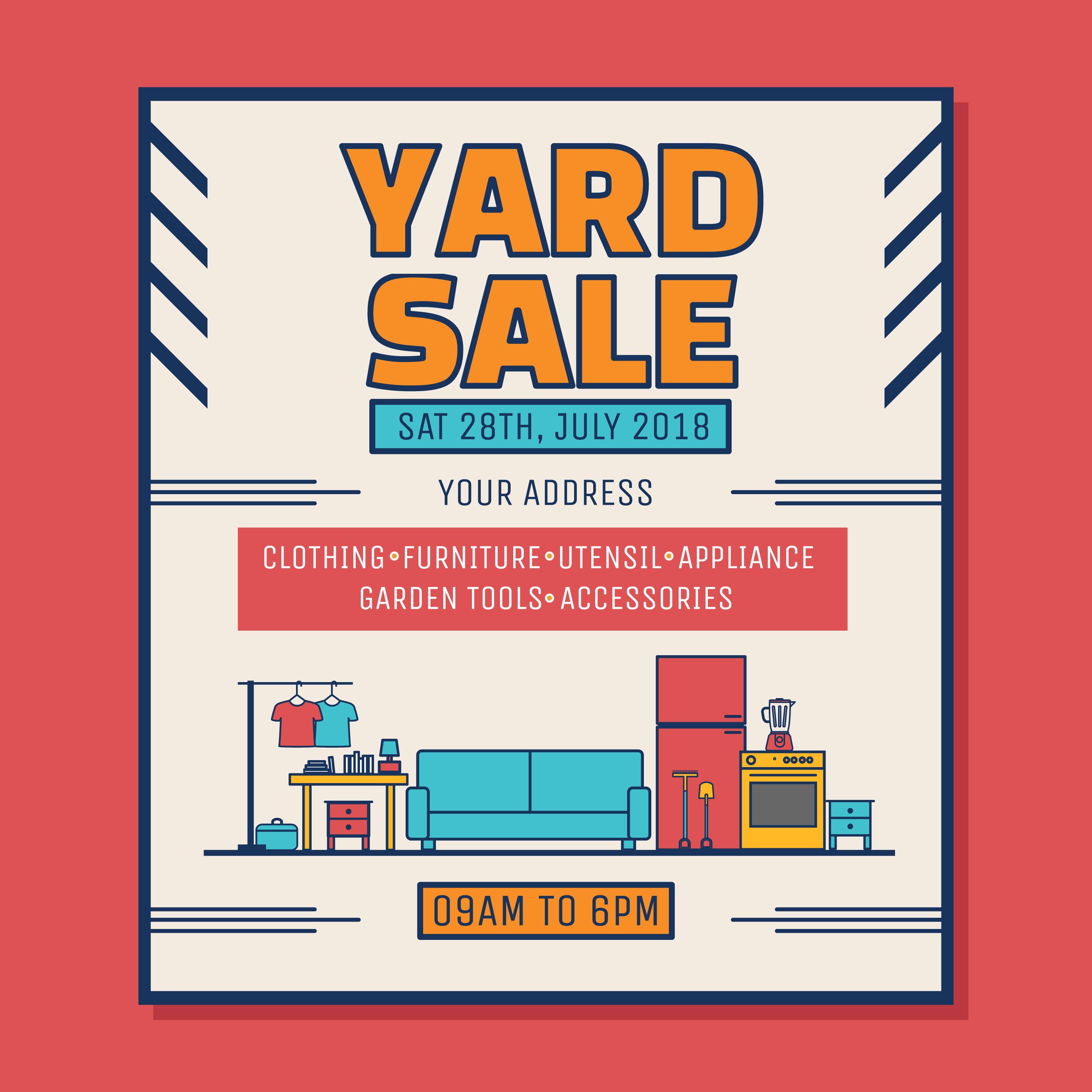 Yard Sale Poster Vector Download Free Vector Art Stock