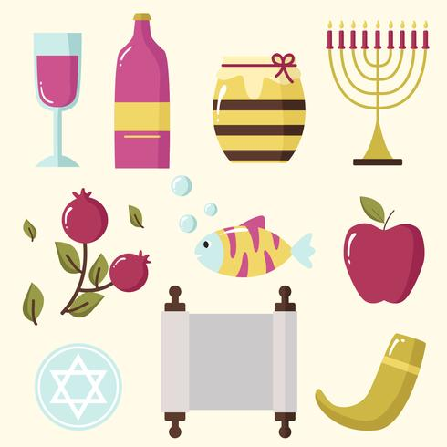 Vetor de elemento plano Rosh Hashanah