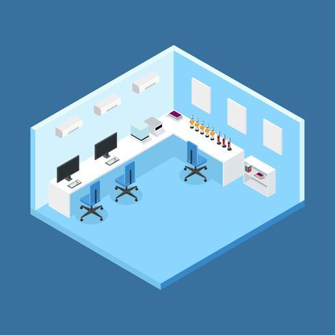 Vector de habitación isométrica de laboratorio