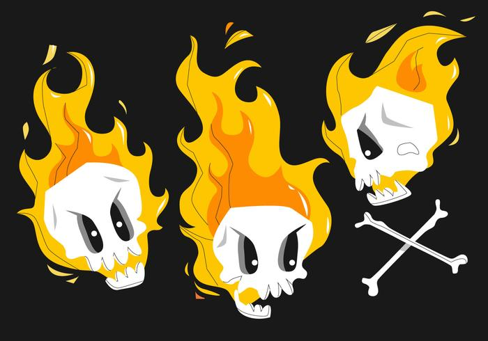 Funny Cartoon Flaming Skull Character Pose Vector Illustration