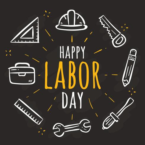 Handdragen Labor Day Vector