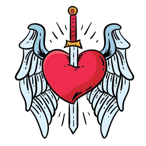Alas corazón y espada tatuaje vector