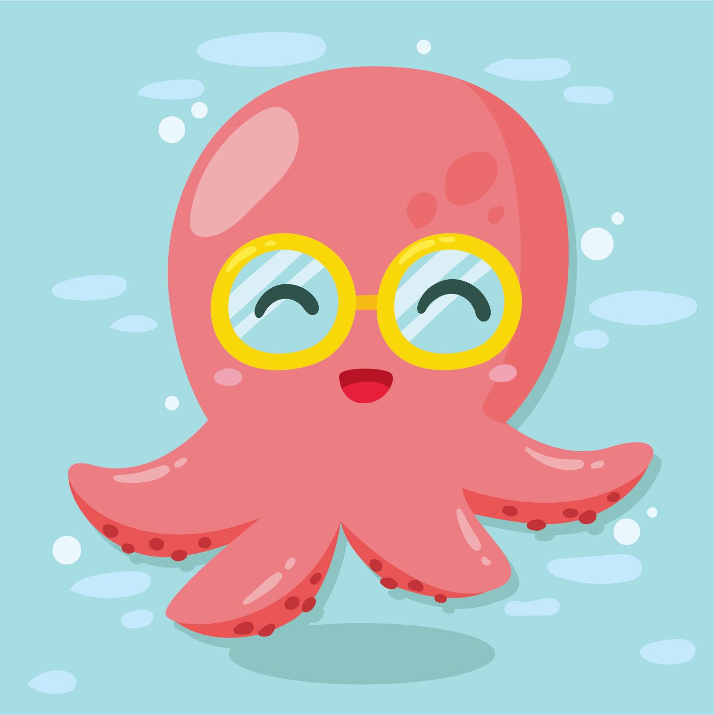 Cute Glasses Octopus Vector