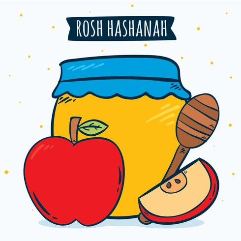 Vetor de elemento de mão desenhada Rosh Hashanah
