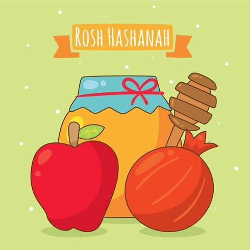Vector de elemento de Rosh Hashaná de dibujos animados
