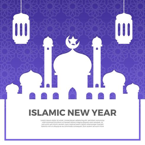 Minimalist islamic New Year Greetings With Gradient Pattern Background Vector Illustration