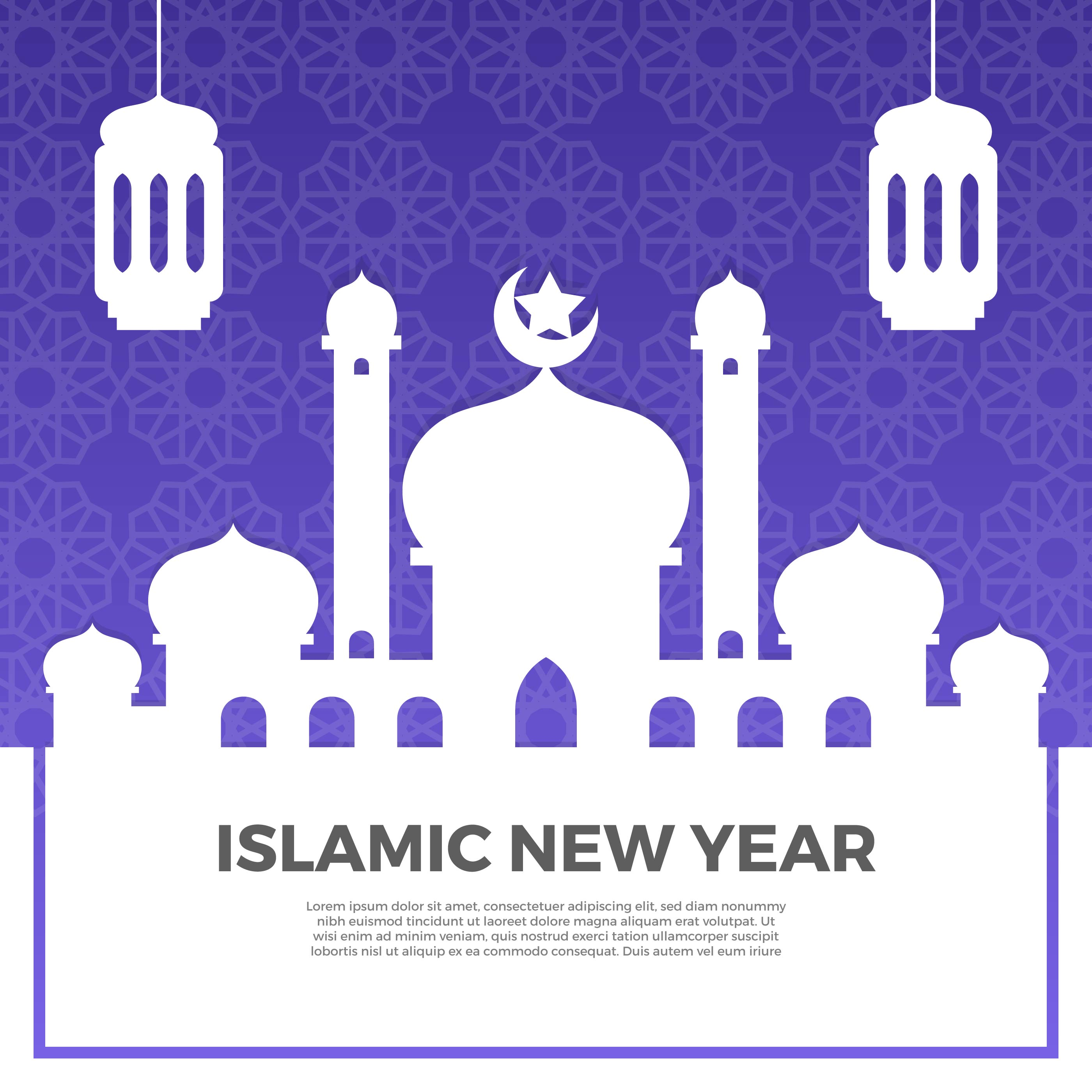 Minimalist Islamic New Year Greetings With Gradient Pattern