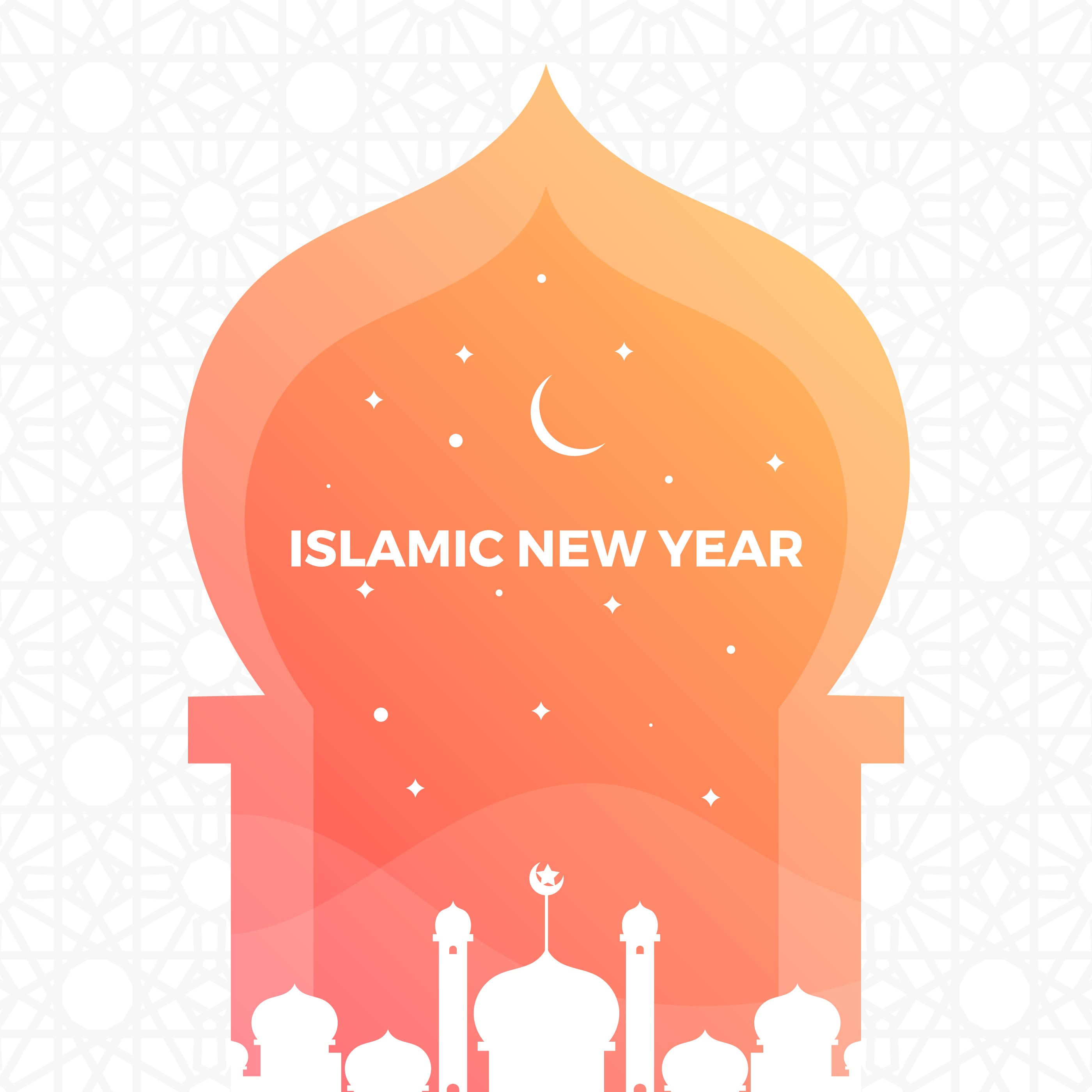 Minimalist islamic New Year Greetings With Gradient ...