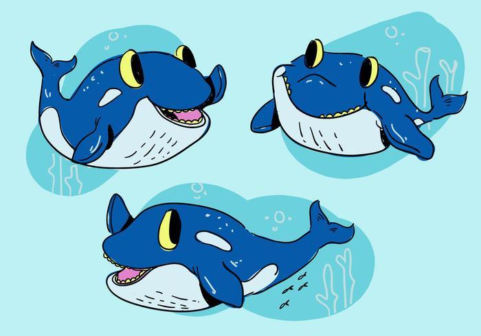 Personagem de baleia assassina de desenho animado engraçado pose ilustração vetorial