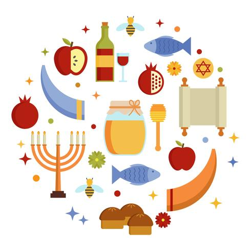 Vettore ebreo degli elementi di Rosh Hashanah