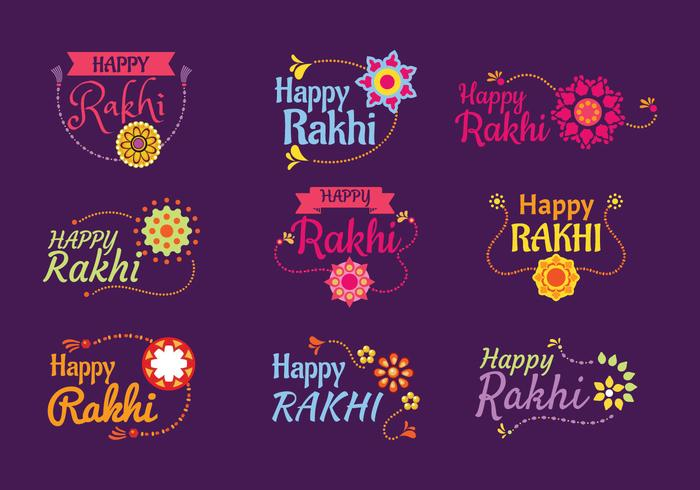 Set av Emblem Happy Raksha Bandhan eller Happy Rakhi Indian Holiday