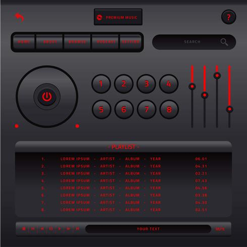 Vetor de interface do usuário de controle de música de áudio