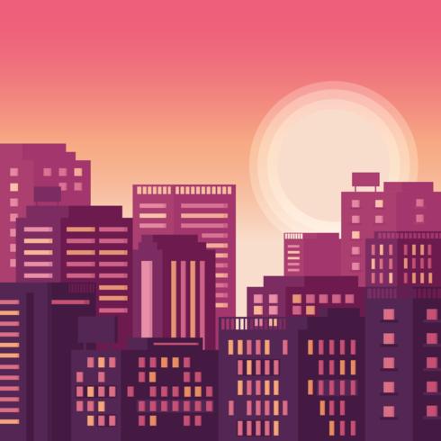 Cityscape Sunset Vector