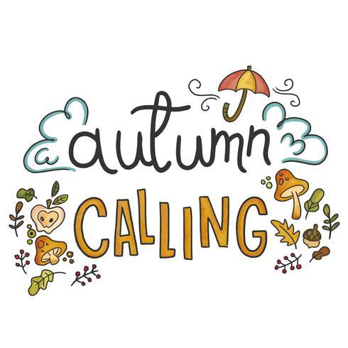 Elementos de outono bonitos com letras