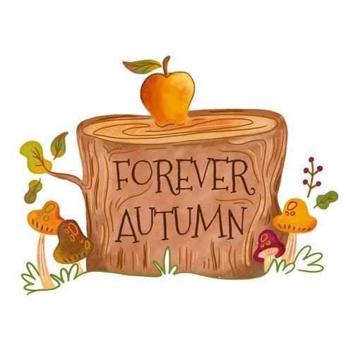 Akvarell träslog med löv, svamp och bokstav