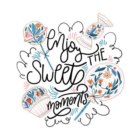 Akvarell söt, godis och muffin med bokstäver