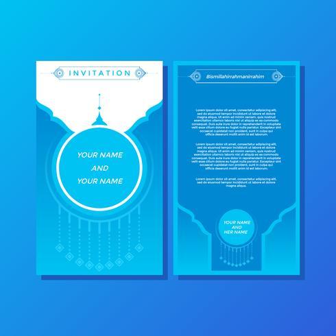 Vetor de modelo de convite estilo islâmico elegância azul