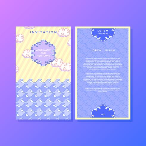 Cute Japanese Style Invitation Template Vector