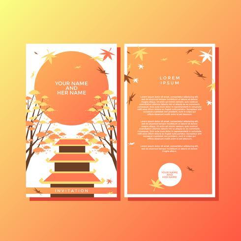 Autumn Japanese Style Invitation Template Vector