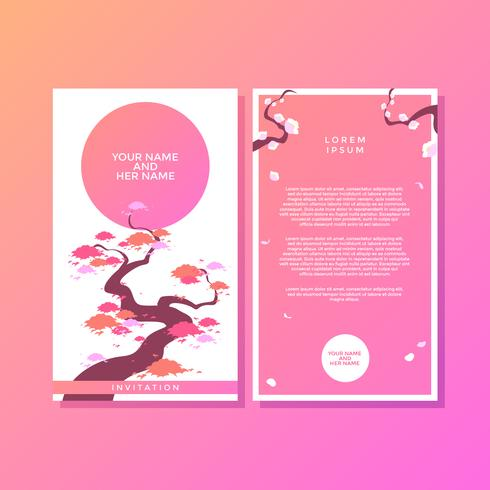 Spring Japanese Style Invitation Template Vector