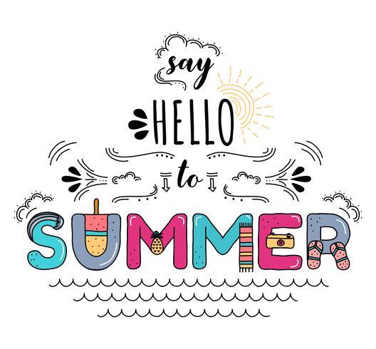 Diga Olá Para Vector Tipografia De Verão