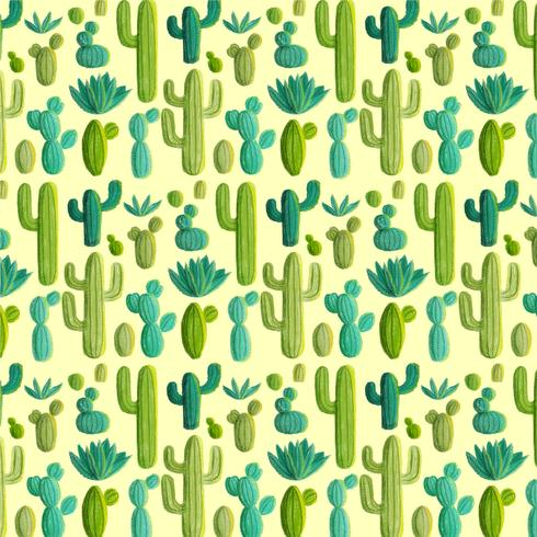 Vector Hand Drawn Cactus Pattern