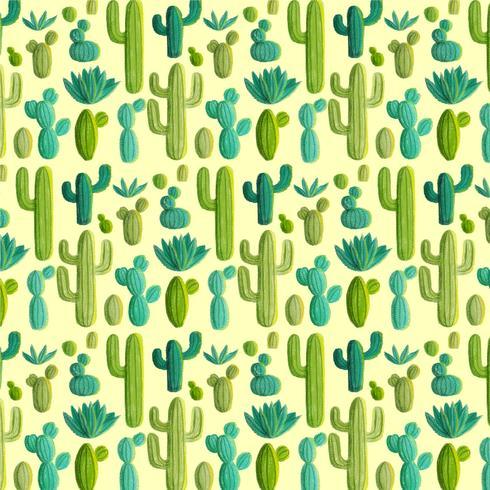 Vektor handdragen kaktusmönster