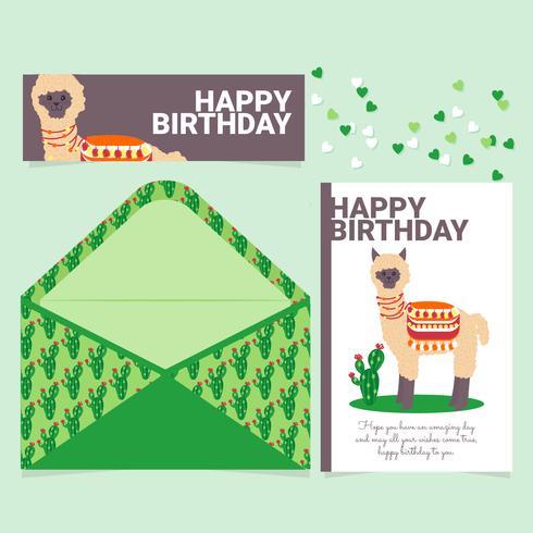 tarjeta de cumpleaños linda lama de vector