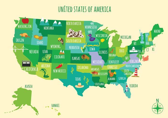 Karta Usa Tidszoner.Illustrerad Karta Over Usa Ladda Ner Gratis Vektorgrafik