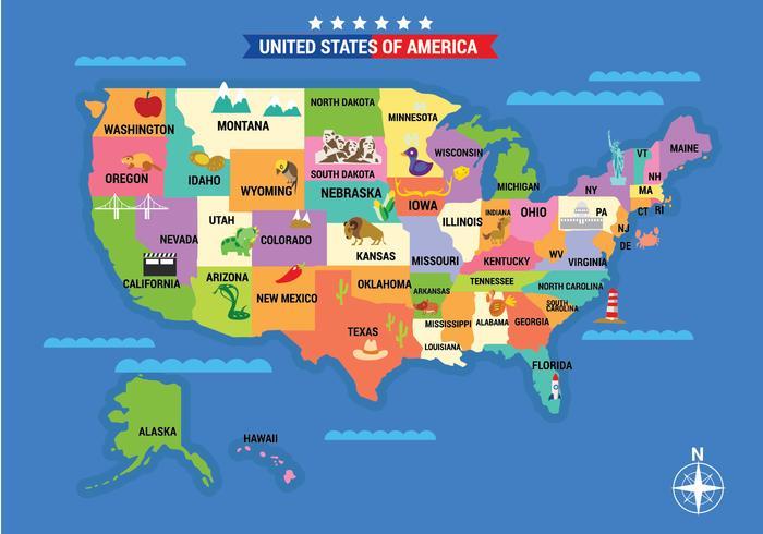Illustrerad karta över USA med detaljerad